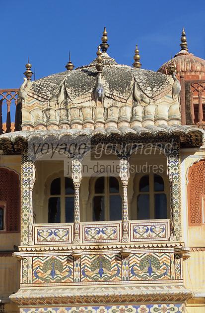 Asie/Inde/Rajasthan/Jaipur: Palais du Soleil - Détail balcon du printemps