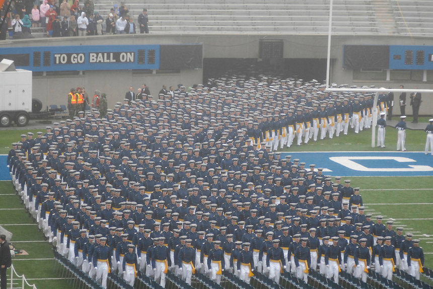 28 May, 2008: The US Air Force Graduating class of 2008 at Falcon Stadium at the Air Force Academy near Colorado Springs, Colorado. President George W. Bush greeted every single cadet in the graduating class.