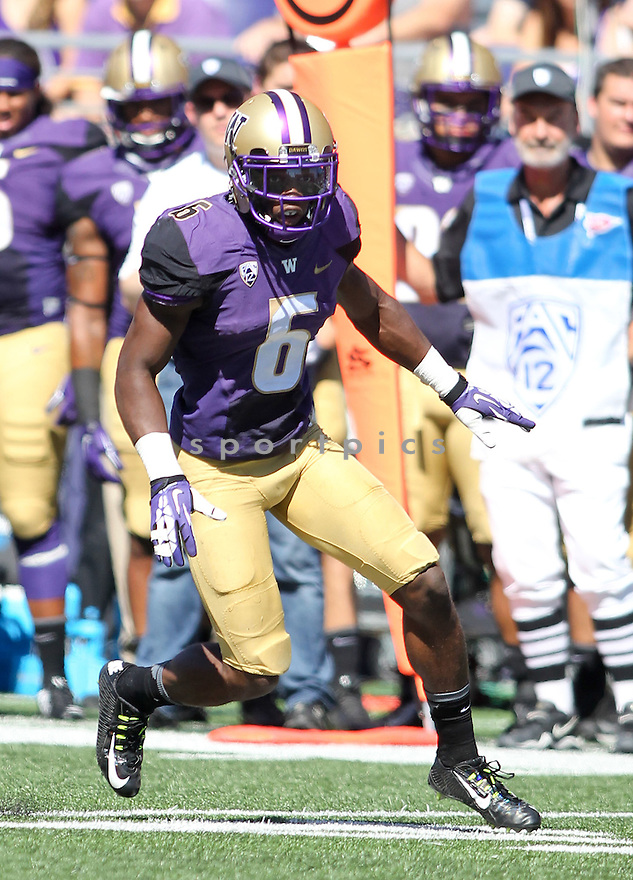 Washington Huskies Jermaine Kelly (6) during a game against the Eastern Washington Eagles on September 6, 2014 at Husky Stadium in Seattle, WA. Washington beat East Washington 59-52.