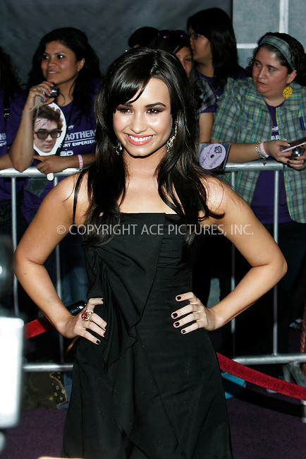 WWW.ACEPIXS.COM . . . . . ....February 24 2009, LA....Actress Demi Lovato at the World Premiere of Walt Disney Pictures' 'Jonas Brothers: The 3D Concert Experience' on February 24, 2009 at the El Capitan Theatre in Hollywood, California.....Please byline: JOE WEST - ACEPIXS.COM....Ace Pictures, Inc:  ..(212) 243-8787 or (646) 679 0430..e-mail: picturedesk@acepixs.com..web: http://www.acepixs.com