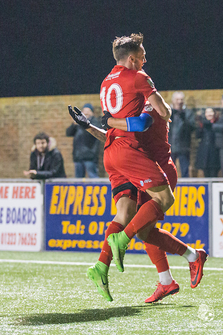 Lloyd Dawes (Eastbourne) congratulates Gavin McCallum (Eastbourne) following his goal to give Borough the lead 3-2 in the 2nd half during Parafix Sussex Senior Cup Quarter Final between Eastbourne Borough FC & Crawley Town FC on Tuesday 09 January 2018 at Priory Lane. Photo by Jane Stokes (DJ Stotty Images)
