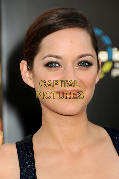 """MARION COTILLARD .""""Inception"""" Los Angeles Film Premiere held at Grauman's Chinese Theatre, Hollywood, California, USA, .13th July 2010..portrait headshot hair up make-up  blue shiny navy sleeveless .CAP/ADM/BP.©Byron Purvis/AdMedia/Capital Pictures."""