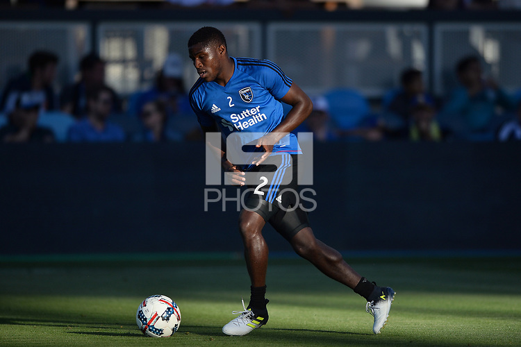San Jose, CA - Monday July 10, 2017: Kofi Sarkodie prior to a U.S. Open Cup quarterfinal match between the San Jose Earthquakes and the Los Angeles Galaxy at Avaya Stadium.
