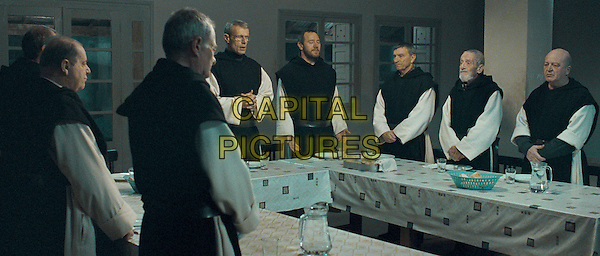 (Foreground) Left to Right: Olivier Perrier & Philippe Laudenbach (Background) Left to Right: Lambert Wilson, Olivier Rabourdin, Loïc Pichon, Jacques Herlin & Jean-Marie Frin .in Of Gods and Men .(Des hommes et des dieux).*Filmstill - Editorial Use Only*.CAP/FB.Supplied by Capital Pictures.