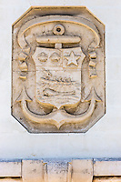 France, Aquitaine, Pyrénées-Atlantiques, Pays Basque, Biarritz: Baleine sur le Blason de la façade de la Poste  //  France, Pyrenees Atlantiques, Basque Country, Biarritz: Whale on the Blason of the front of the Post Office
