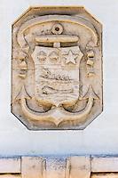 France, Aquitaine, Pyrénées-Atlantiques, Pays Basque, Biarritz: Baleine sur le Blason de la façade de la Poste  //  France, Pyrenees Atlantiques, Basque Country, Biarritz: Whale on the Blason of the front of the Post Office