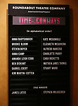 Lobby Cast Board during the Broadway Opening Night performance Curtain Call Bows for The Roundabout Theatre Company production of 'Time and The Conways'  on October 10, 2017 at the American Airlines Theatre in New York City.