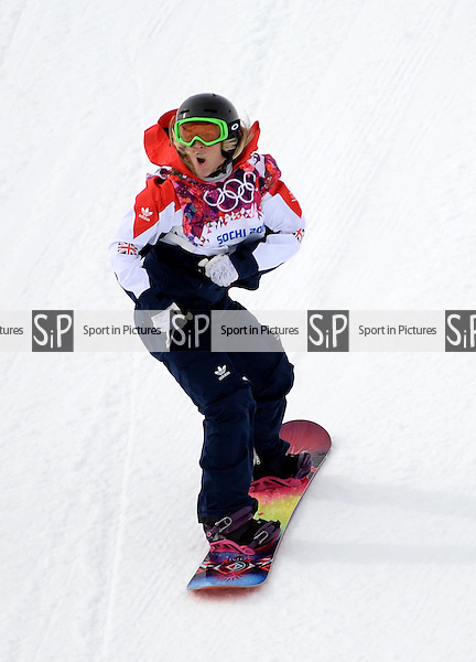 Jenny Jones (GBR). Womens Snowboard Slopestyle - semi final - PHOTO: Mandatory by-line: Garry Bowden/SIPPA/Pinnacle - Photo Agency UK Tel: +44(0)1363 881025 - Mobile:0797 1270 681 - VAT Reg No: 768 6958 48 - 090214 - 2014 SOCHI WINTER OLYMPICS - Rosa Khutor Extreme Park, Sochii, Russia