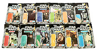 BNPS.co.uk (01202 558833)<br /> Pic: Vectis/BNPS<br /> <br /> PICTURED: Star Wars vintage 12 used backing cards sold without the toys for a massive £1,560<br /> <br /> One man's epic collection of retro eighties' toys has been sold for £220,000 by his family following his death.<br /> <br /> Dr Cornel Flemming amassed more than 1,600 toy action figures and cars for franchises like Star Wars, He-Man and Transformers. <br /> <br /> The market for nostalgic toys is booming at the moment which is reflected in the prices some of the toys achieved.<br /> <br /> An unopened pack of three He-Man figures featuring He-Man, Teela and Ram Man made by Mettel sold for an incredible £12,000.