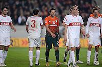 FUSSBALL  1. BUNDESLIGA  SAISON 2011/2012  31. SPIELTAG 13.04.2012 VfB Stuttgart - SV Werder Bremen Claudio Pizarro (Mitte, SV Werder Bremen) enttaeuscht umgeben von VfB Spielern