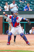 Chattanooga Lookouts catcher J.C. Boscan (15) makes a throw to second base against the Montgomery Biscuits at AT&T Field on July 23, 2014 in Chattanooga, Tennessee.  The Lookouts defeated the Biscuits 6-5. (Brian Westerholt/Four Seam Images)