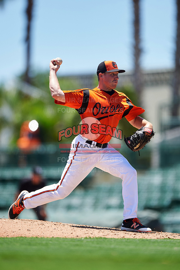 GCL Orioles relief pitcher Lucas Brown (48) during a game against the GCL Twins on August 11, 2016 at the Ed Smith Stadium in Sarasota, Florida.  GCL Twins defeated GCL Orioles 4-3.  (Mike Janes/Four Seam Images)