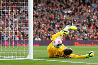 Thomas Heaton of Aston Villa saves the shot onto the post, which rebounds against him during the Premier League match between Arsenal and Aston Villa at the Emirates Stadium, London, England on 22 September 2019. Photo by Carlton Myrie / PRiME Media Images.