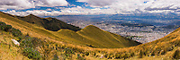 Panoramic photo of City of Quito Old Town and the North, seen from the Pichincha Volcano, Ecuador, South America