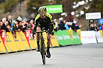 Simon Yates (GBR) Mitchelton-Scott wins a wet miserable Stage 7 of the 2018 Paris-Nice running 175km from Nice to Valdeblore la Colmiane, France. 10th March 2018.<br /> Picture: ASO/Alex Broadway | Cyclefile<br /> <br /> <br /> All photos usage must carry mandatory copyright credit (&copy; Cyclefile | ASO/Alex Broadway)
