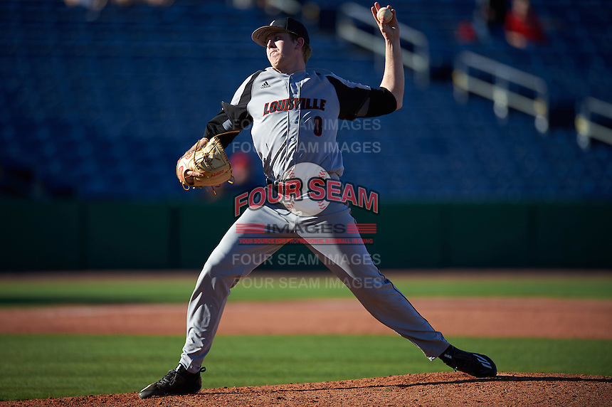 Louisville Cardinals relief pitcher Nick Bennett (8) delivers a pitch during a game against the Ball State Cardinals on February 19, 2017 at Spectrum Field in Clearwater, Florida.  Louisville defeated Ball State 10-4.  (Mike Janes/Four Seam Images)