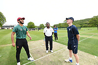 Picture by SWpix.com - 09/052018 Yorkshire Cricket College first ever game v Woodhouse grove School, Apperley Bridge, Bradford - team members and players of take to field for The Yorkshire Cricket College first ever game v Woodhouse Grove School<br /> Captain &ndash; James Rogers coin toss