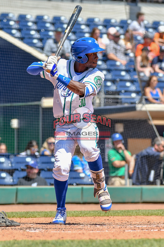 Myles Jones (30) of the Hartford Yard Goats bats during a game against the Binghamton Rumble Ponies at Dunkin Donuts Park on May 9, 2018 in Hartford, Connecticut. (Gregory Vasil/Four Seam Images)