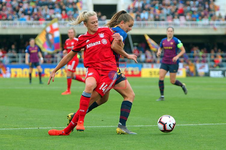 UEFA Women's Champions League 2018/2019.<br /> Semi Finals<br /> FC Barcelona vs FC Bayern Munchen: 1-0.<br /> Fridolina Rolfo vs Lieke Martens.