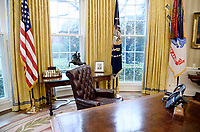 The Resolute desk is seen in the Oval Office of the White House March 31, 2017 in Washington, DC. Photo Credit: Olivier Douliery/CNP/AdMedia