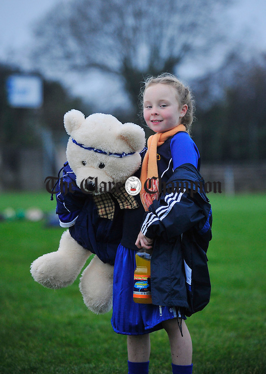 Caoimhe Carmody, daughter of Kilmihil Manager John, shows her support for the team in Nenagh. Photograph by Declan Monaghan