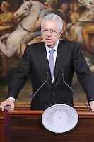Roma, 17 Aprile 2012.Palazzo Chigi.Incontro tra il Primo Ministro Mario Monti e il Primo Ministro della Repubblica di Finlandia Jyrki Katainen