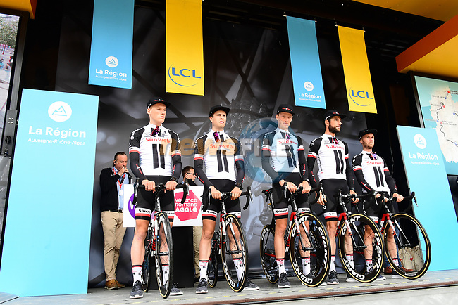Team Sunweb introduced on stage at sign on before Stage 1 of the 2018 Criterium du Dauphine 2018 running 179km from Valence to Saint-Just-Saint-Rambert, France. 4th June 2018.<br /> Picture: ASO/Alex Broadway | Cyclefile<br /> <br /> <br /> All photos usage must carry mandatory copyright credit (© Cyclefile | ASO/Alex Broadway)