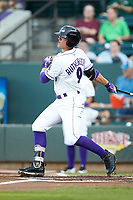 Blake Rutherford (9) of the Winston-Salem Dash follows through on his swing against the Frederick Keys at BB&T Ballpark on July 26, 2018 in Winston-Salem, North Carolina. The Keys defeated the Dash 6-1. (Brian Westerholt/Four Seam Images)