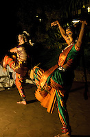 20080131_Periyar, India_ Two women dance for hotel guests at the Spice Village Hotel, which is located near the entrance of the Periyar Wildlife Sancuary in the Southern Indian state of Kerala.  Photographer: Daniel J. Groshong/Tayo Photo Group
