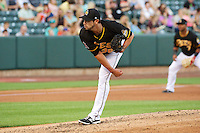 Joel Pineiro (36) of the Salt Lake Bees delivers a pitch to the plate against the Nashville Sounds in Pacific Coast League action at Smith's Ballpark on June 23, 2014 in Salt Lake City, Utah.  (Stephen Smith/Four Seam Images)
