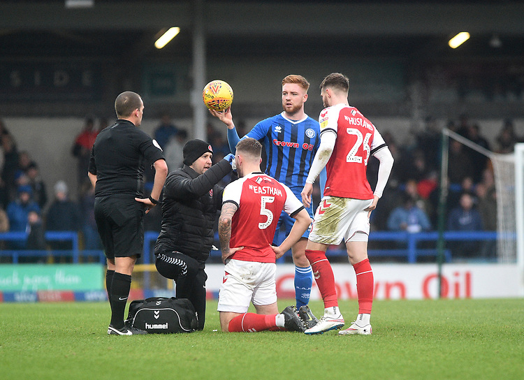 Fleetwood Town's Ashley Eastham recieving treatment <br /> <br /> Photographer Hannah Fountain/CameraSport<br /> <br /> The EFL Sky Bet League One - Rochdale v Fleetwood Town - Saturday 19 January 2019 - Spotland Stadium - Rochdale<br /> <br /> World Copyright &copy; 2019 CameraSport. All rights reserved. 43 Linden Ave. Countesthorpe. Leicester. England. LE8 5PG - Tel: +44 (0) 116 277 4147 - admin@camerasport.com - www.camerasport.com