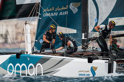 July 23rd 2017, Barcelona, Spain; Extreme Sailing Series, Act 4, Sunday Session; The skipper Phil Robertson (NZL) of TEAM Oman Air and his crew Pete Greenhalgh, Ed Symth, Nasser Al Mashari, James Wierzbowski