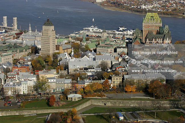 Aerial view of Old Quebec and the Hotel Chateau Frontenac in Quebec City, Canada