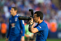 Chelsea's Pedro plays with a photographers camera during the celebrations <br /> <br /> Photographer Craig Mercer/CameraSport<br /> <br /> Emirates FA Cup Final - Chelsea v Manchester United - Saturday 19th May 2018 - Wembley Stadium - London<br />  <br /> World Copyright &copy; 2018 CameraSport. All rights reserved. 43 Linden Ave. Countesthorpe. Leicester. England. LE8 5PG - Tel: +44 (0) 116 277 4147 - admin@camerasport.com - www.camerasport.com