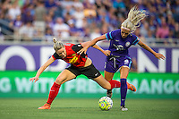Orlando, Florida - Sunday, May 14, 2016: Orlando Pride midfielder Kaylyn Kyle (6) battles Western New York Flash defender Alanna Kennedy (8) for possession during a National Women's Soccer League match between Orlando Pride and New York Flash at Camping World Stadium.