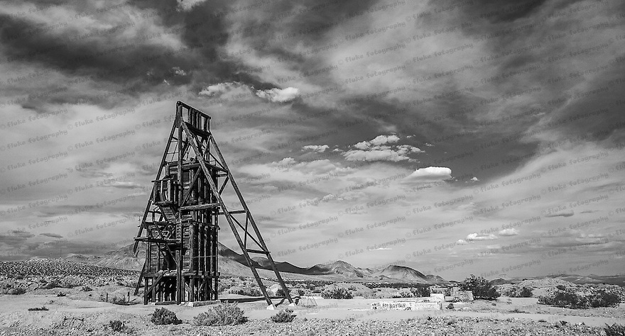 An old abandoned gold mine in the hills near Red Mountain, CA.