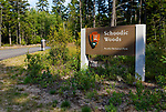 Entrance sign, Schoodic Woods campground, Acadia National Park, Maine, USA