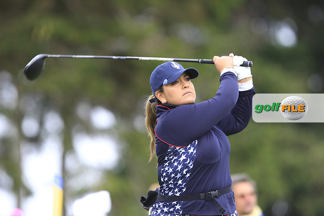 Lizette Salas (USA) on the 2nd tee during Day 3 Singles at the Solheim Cup 2019, Gleneagles Golf CLub, Auchterarder, Perthshire, Scotland. 15/09/2019.<br /> Picture Thos Caffrey / Golffile.ie<br /> <br /> All photo usage must carry mandatory copyright credit (© Golffile | Thos Caffrey)