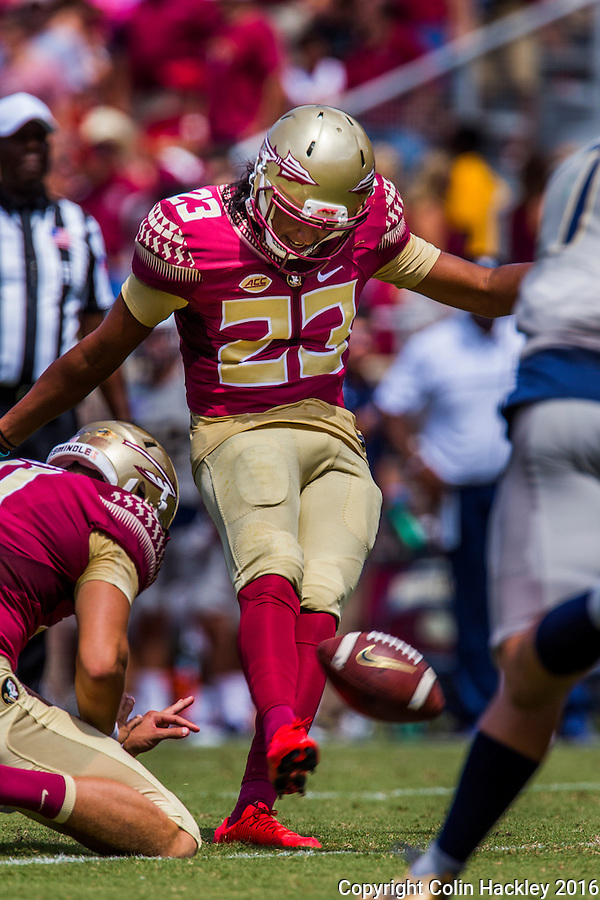 TALLAHASSEE, FLA 9/10/16-Florida State's Ricky Aguayo makes a point after touchdown against Charleston Southern during first quarter action Saturday at Doak Campbell Stadium in Tallahassee. <br /> COLIN HACKLEY PHOTO
