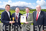 Killarney Mayor presents Gold Cup winning trainer Jim Culloty a special recognition award as the Killarney Town Council held a civic reception in Killarney racecourse on Sunday l-r: Davie Russell winning jockey, Mayor Paddy Courtney, Jim Culloty and John Buckley Chairman Killarney racecourse