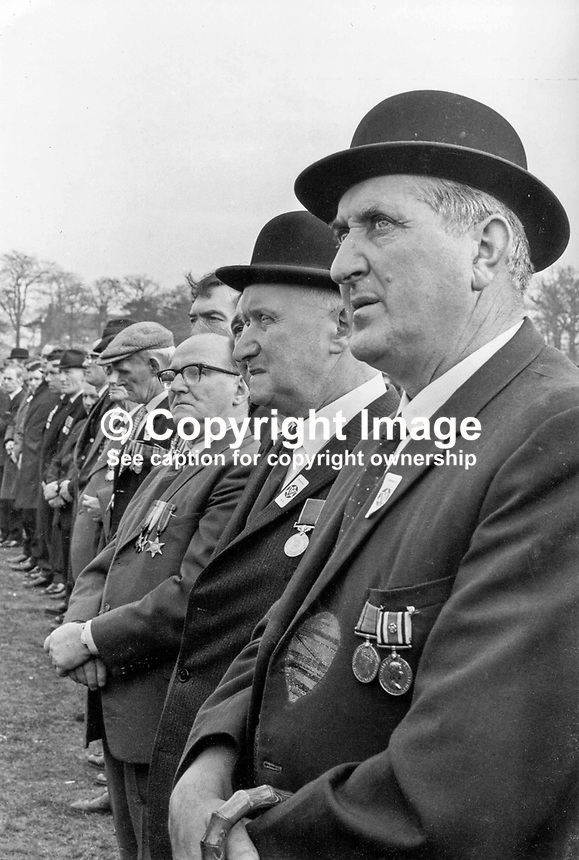 Ulster Vanguard Rally in Ormeau Park, Belfast, N Ireland. Bowler Hat. Medals. Ref: 197203001.<br />