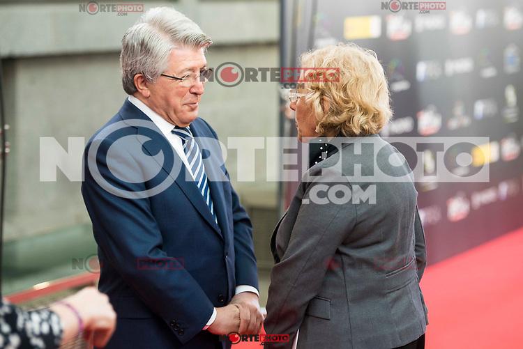"""Enrique Cerezo and Madrid Mayor Manuela Carmena attends to the presentation of the """"Premios Platino"""" at Palacio de Cristal in Madrid. April 07, 2017. (ALTERPHOTOS/Borja B.Hojas) (NortePhoto.com)"""