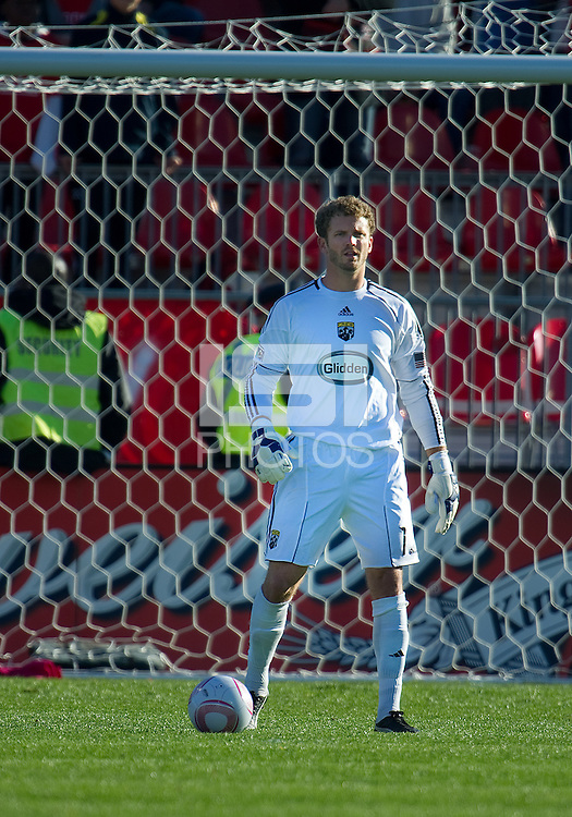 October 16 2010  Columbus Crew goalkeeper William Hesmer #1in action during a game between the Columbus Crew and Toronto FC at BMO Field in Toronto..The final score was a 2-2 draw.
