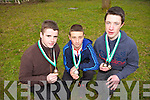 Castleisland Community College students won medals for the U16's category at the Kerry Education Service Cross Country Championships on Thursday morning in Listowel Community Centre. Pictured were; Jack Goulding (3rd place), Paul O'Connor (2nd place) and Kieran Horan (1st place).