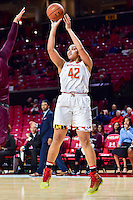 College Park, MD - NOV 16, 2016: Maryland Terrapins center Brionna Jones (42) hits a jump shot during game between Maryland and Maryland Eastern Shore Lady Hawks at XFINITY Center in College Park, MD. The Terps defeated the Lady Hawks 106-61. (Photo by Phil Peters/Media Images International)