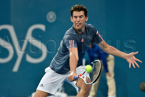 12.01.17 Sydney Olympic Park, Sydney, Australia. Dominic Thiem (AUT) in action against Daniel Evans (GBR) during their quarter final match on day 5 at the Apia International Sydney. Evans won 3-6,6-4,6-1.