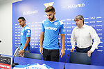 CD Leganes' new players Roberto Rosales (l) and Marc Navarro (c) with the General manager Txema Indias during their official presentation. July 30, 2019.(ALTERPHOTOS/Acero)