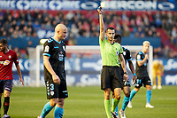 Kravets (defender; CD Lugo) receives a yellow card during the Spanish football of La Liga 123, match between CA Osasuna and CD Lugo at the Sadar stadium, in Pamplona (Navarra), Spain, on Sanday, December 2, 2018.