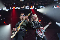 CARHAIX-PLOUGUER, FRANCE - JULY 14, 2016: American singer Alison Mosshart &amp; British guitarist Jamie Hince of indie rock band The Kills perform at the Festival des Vieilles Charrues, Carhaix-Plouguer, France<br /> Picture: Kristina Afanasyeva / Featureflash