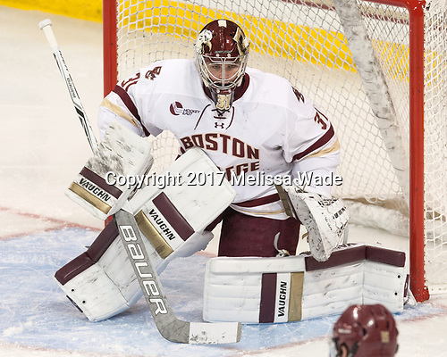 Joe Woll (BC - 31) - The Boston College Eagles defeated the visiting UConn Huskies 2-1 on Tuesday, January 24, 2017, at Kelley Rink in Conte Forum in Chestnut Hill, Massachusetts.
